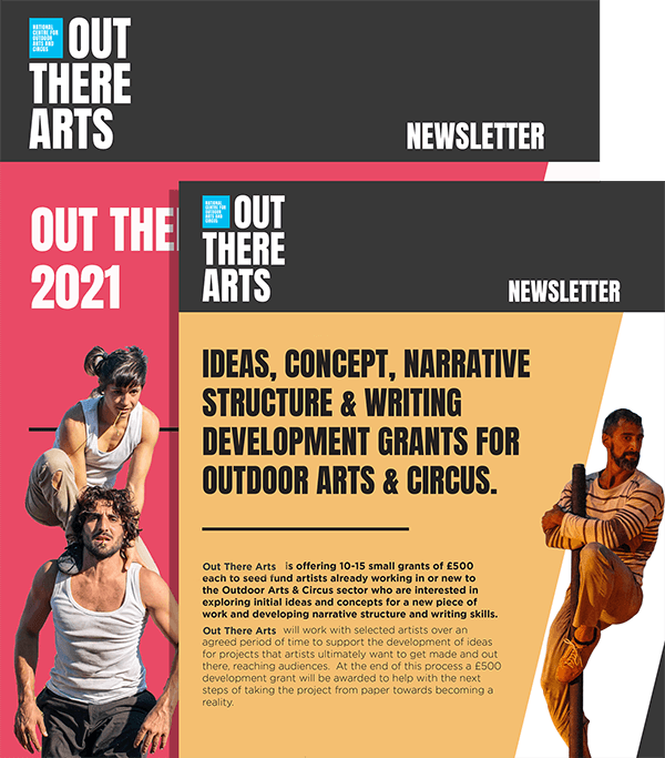 Example of the Out There Arts email newsletter